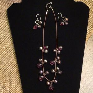 Jewelry - Leather, Pearl & Amethyst Necklace Earrings Set